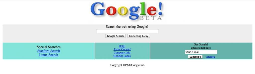 Page Google en 1998